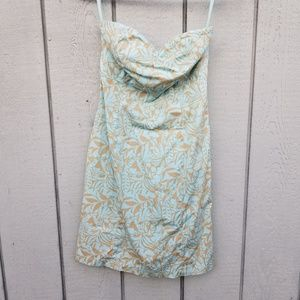 GAP TROPICAL LEAF PRINT STRAPLESS DRESS